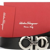 NEW SALVATORE FERRAGAMO REVERSIBLE LEATHER RUTHENIUM BUCKLE DOUBLE GANCIO BELT