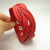 Red Soft Leather Woven Women's Leather Cuff by braceletcool
