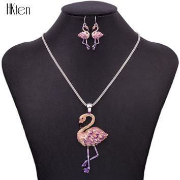 MS1504433 Fashion Elephant Jewelry Sets Hight Quality Silver Plated Multicolor Pendant Flamingo Necklace Earring Sets choker