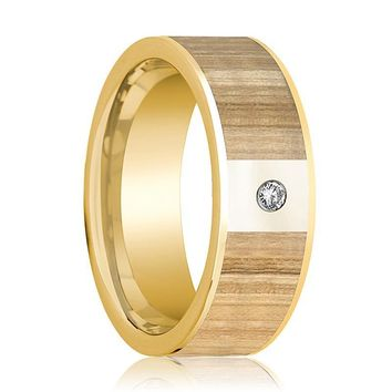 Mens Wedding Ring Polished 14k Yellow Gold Flat Wedding Band with Ash Wood Inlay & Diamond - 8mm