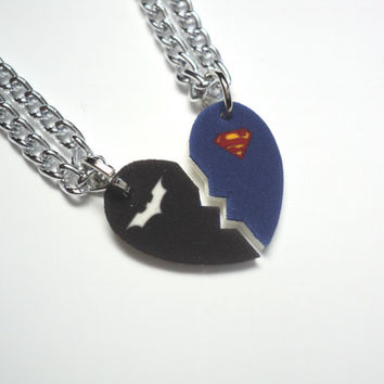 Batman And Superman Half Heart Necklace From Happyscharms On Etsy