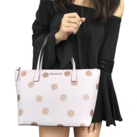 Kate Spade Haven Lane Hani Small Tote Glitter Pink Polka Dot Handbag