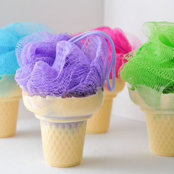 Soap on a Rope - Ice Cream Soap with shower poof puff - cute soap - Cotton Candy, Cupcake, Grape Soda or Lime Sugar