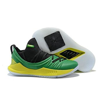 Under Armour Stephen Curry 5 SC Black Green Yellow Basketball Shoes Sneakers