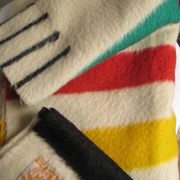 Vintage Classic Stripe Hudson's Bay Point Blanket Pure Wool Blanket 4 Point Hudson's Bay FULL Size Wool Blanket 70 x 90 Inches