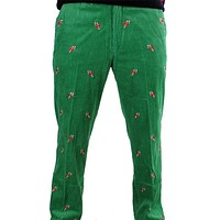 Wide Wale Corduroy Pants in Evergreen with Embroidered Candy Canes by Castaway Clothing