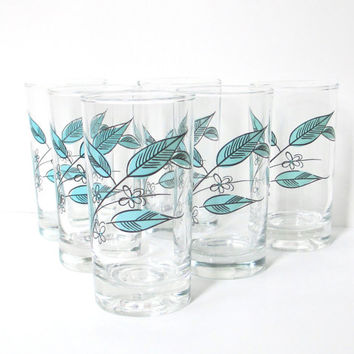 Mid Century Drinking Glasses - Set of Six Salem Biscayne Tumblers