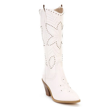 Ann Creek Women's 'Hornsby' White Studded Western Boots                                              by Ann Creek                                          should have sized uplove themCute boots!Not what I expectedJRThe boots are beautiful