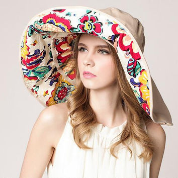 Design Flower Foldable Brimmed Sun Hat