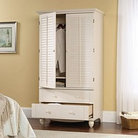 Bedroom Wardrobe Cabinet Storage Armoire with Louver Doors in White