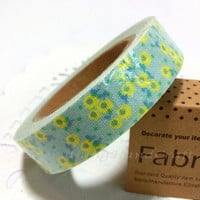 Sticky Tape / Cotton Fabric Adhesive Tape / Korea Decorative Masking Tape Scrapbooking Tools Favor Stationery /Blue Yellow Little Flowers
