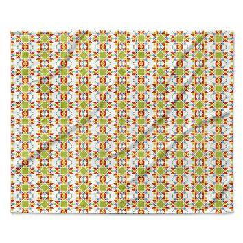 "Tobe Fonseca ""Geometric Lines Native Pattern"" Beige Green Geometric Pattern Digital Illustration Fleece Throw Blanket"