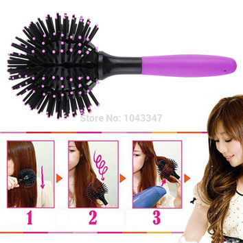 japanese bomb curl 3D Hair Brush 360 degree Ball Styling Blow Drying Detangling Heat Resistant Hair Comb