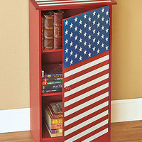 Americana Country Cupboard Cabinet Stars Stripes Primitive Kitchen Home Decor