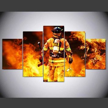 Decoration Posters Modular Picture On Canvas Wall Art Home 5 Panel Firefighter Living Room Modern HD Printed Painting Framed