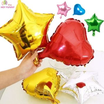 HEY FUNNY 10 pcs/lot 10inch 25cm foil balloon 9 colors love red Heart foil inflatable balloons wedding love new year decor