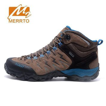 MERRTO Men's Fur Leather Winter Hiking Trekking Boots Shoes Sneakers For Men Winter Outdoor Climbing Mountain Boots Shoes Man