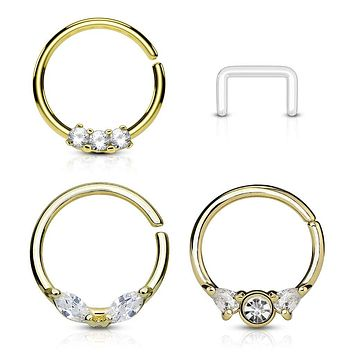 WILDKLASS 3 Pcs Value Pack Assorted Half Circle Bendable 316L Surgical Steel Nose Septum and Ear Cartilage Hoops with Free Clear Retainer