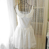 Romantic Handmade women white lace cotton peter pan collar pleated dress alice in wonderland wedding sweetheart