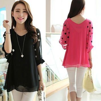 Women New Fashion Summer Sexy Elegant Chiffon Shirt Casual Loose Dots Point Bat sleeves Blouse Tops Plus Size M-XXXXL = 1958311172