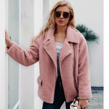 Trendy ZADORIN 2018 New Faux Lambs Wool Bomber Jacket Plus Size Women Coat Women Teddy Bear Jacket Pink Black Autumn Streetwear Coats AT_94_13