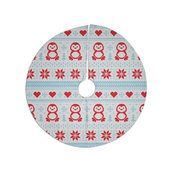 "KESS Original ""Pixel Penguin Holiday"" Christmas Pattern Tree Skirt"