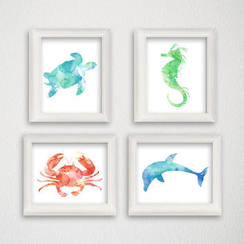 Sealife Art Print, Set of 4 Prints 8 x 10, Nautical Home Decor, Beach Art Print, Nursery Art Print, Turtle, Crab, Seahorse, Dolphin