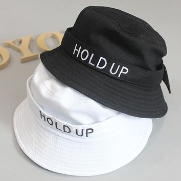 2018 New Fashion Cotton Hold UP Bucket Hat White Black Panama Fishing Cap Boys Girls Fisherman Hats Caps