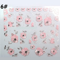 #6 One Sheet Pink Leaf and Flowers Pattern Nail Art Sticker