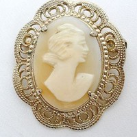 Vintage Carved Cameo Brooch Gold Filled Filigree Jewelry Pin