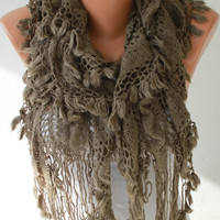 Fabric Knitted Lace Scarf  -  Shawl Scarf  Cowl Scarf -  Long Scarf - Ruffle Scarf- Dark Beige- Taupe -fatwoman