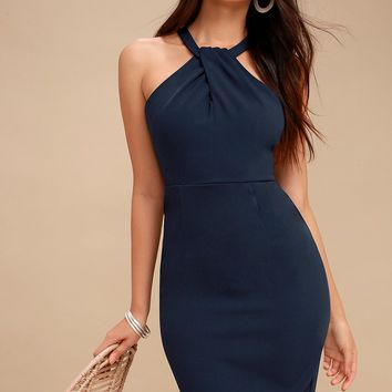 Be My Baby Navy Blue Bodycon Midi Dress