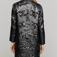 Theyskens' Theory Melan Embellished Coat In Black