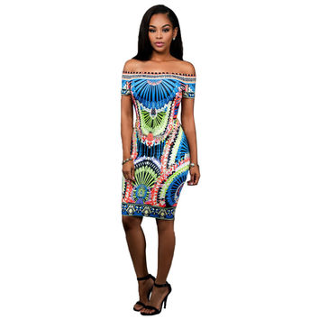 Dmart7deal Dress Dashiki Bodycon Sexy Party Dress Short  Off The Shoulder Indian Traditional Print African Dresses