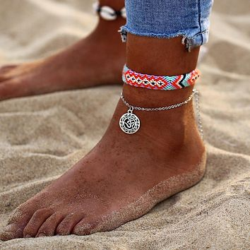 Braided OM Symbol Beach Anklet
