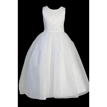 Girls Communion Dress Swirled Sequin & Beaded Bodice Plus Sz 8x-20x