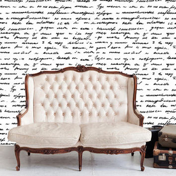 Removable Wallpaper- Love Letter- Peel & Stick Self Adhesive Fabric Temporary Wallpaper-Repositionable-Reusable- FAST. EASY.