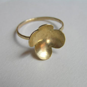 14k Gold Ring - Flower Petals Ring - Delicate Ring - Solid Gold
