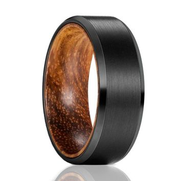 Men's Beveled Black Tungsten Wedding Band with Zebra Wood Sleeve - 8mm