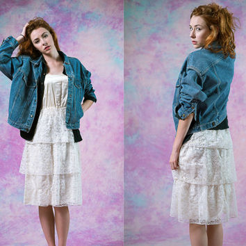 vtg calvin klein medium wash denim jacket, womens outerwear, vintage 70's 80's 90's, tumblr, american apparel, soft grunge fashion