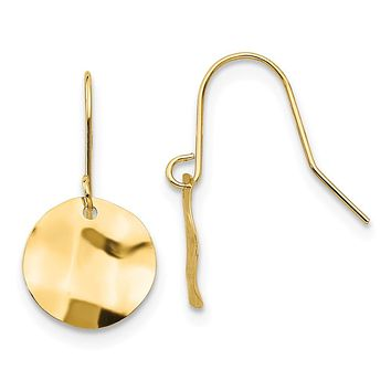 Kids 9mm Hammered Circle Dangle Earrings in 14k Yellow Gold