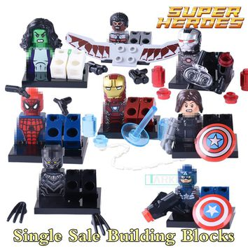 Single Sale Marvel Super Hero Iron Man Captian America Civil War Black Panther Building Block diy figures Bricks Children Gift