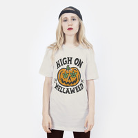 High on Hella Weed Halloween T-shirt | Three Color Cream | Killer Condo Apparel