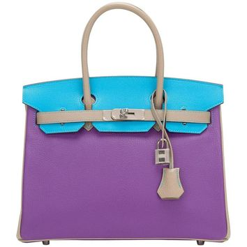 Hermes HSS SO Tri-Color Blue Aztec Parme and Gris Tourterelle Chevre Birkin 30cm