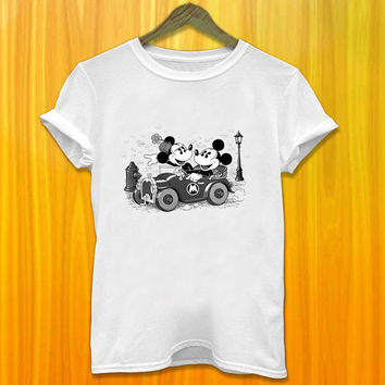 Mickey and Minnie Mouse Classic in The Car Women and Men Tshirt All Color Available