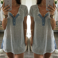 New Summer Fashion Women Loose Tops Short Sleeve Sexy T-Shirt Blouse Mini Dress