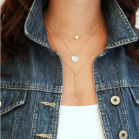 Fashion Geometry Triple Layered Necklace
