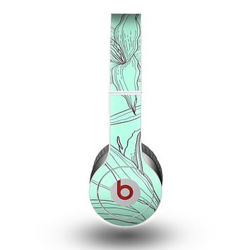 The Teal & Brown Thin Flower Pattern Skin for the Beats by Dre Original Solo-Solo HD Headphones