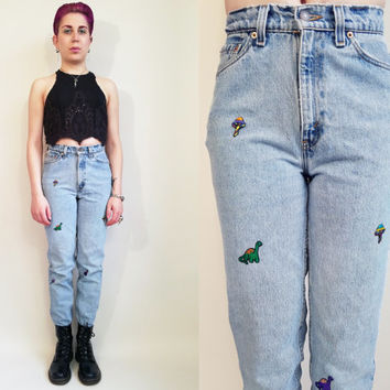 80s 90s Jeans Vintage Upcycled Patch Jeans Vintage 90s Levis High Waisted Jeans High Rise Jeans Light Wash Jeans 26 Waist Made in USA