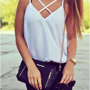 White V-Neck Cross Strap Halter Top